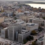 Aerial view of Madison, from near the capitol, looking west.