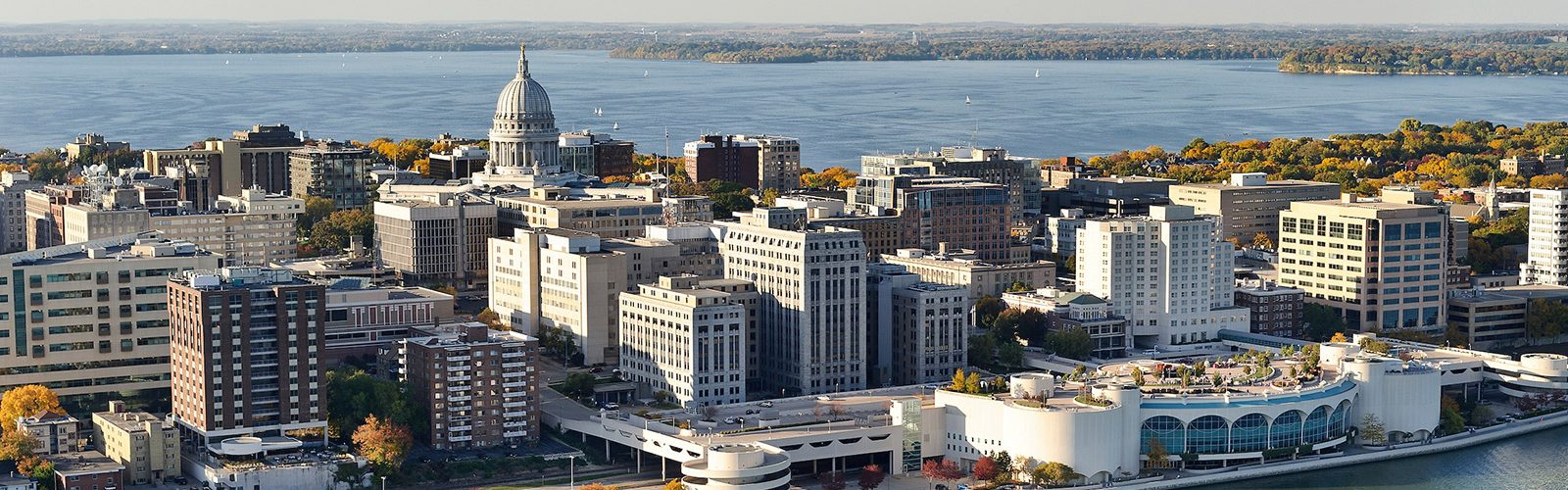 Aerial view of downtown Madison, WI.