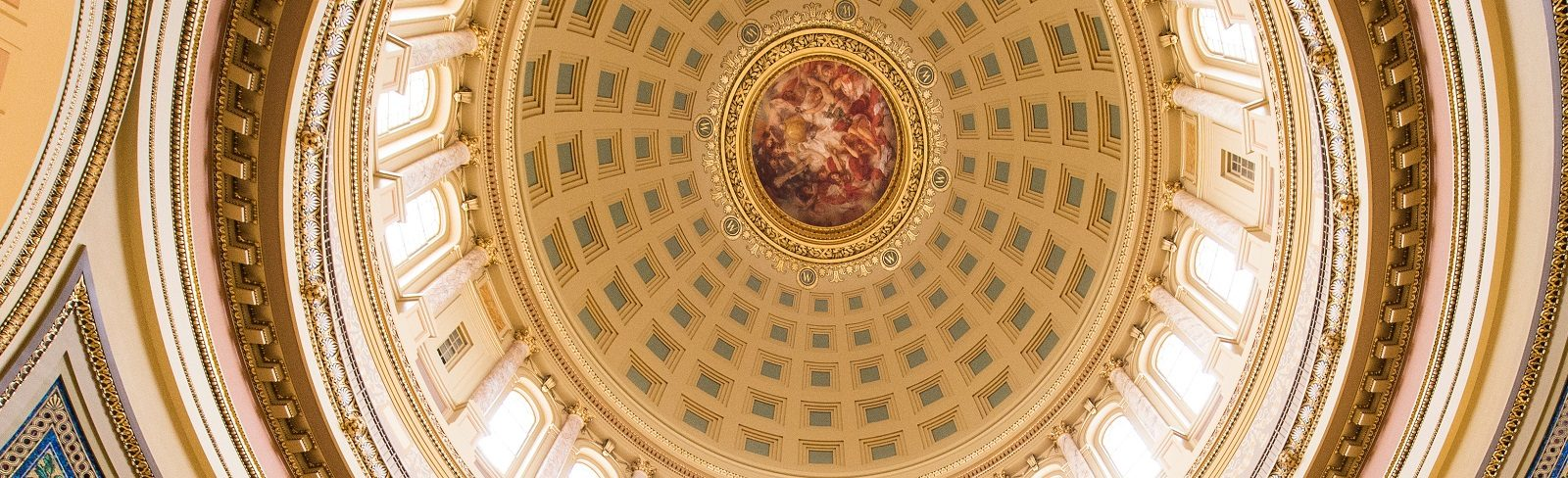The ornate ceiling of the Wisconsin State Capitol is pictured during Posters in the Rotunda on April 22, 2015. The event provides students and faculty advisors from across the UW System with the opportunity to share their research findings with Wisconsin legislators, state leaders, UW alumni and members of the public. (Photo by Jeff Miller/UW-Madison)
