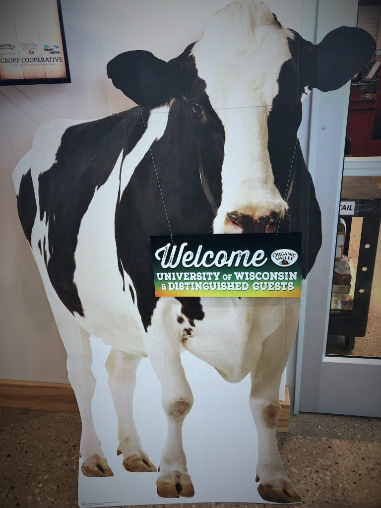 Photo of a interior sign. Sign is of a black and white cow with a welcome sign for UW Madison visitors